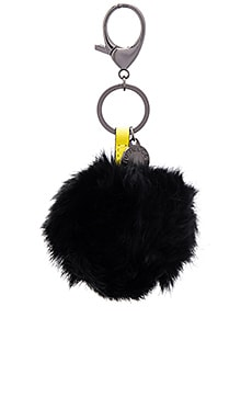 Rabbit Fur Pom Pom Key Chain in Black