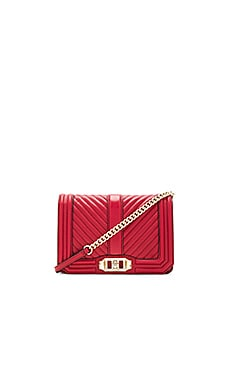 Chevron Quilted Small Love Bag in Deep Red