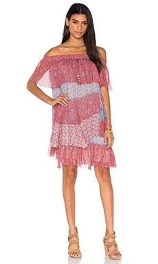 Off The Shoulder Amanda Dress in Tangerine & Mermaid