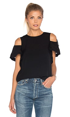 Short Sleeve Open Shoulder Crop Top in Black