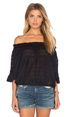 Short Sleeve Embroidered Gauze Top in Black