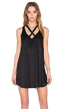 Visions V Neck Mini Dress in Black