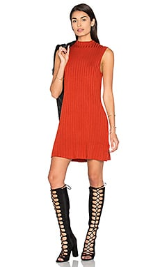 Banked Sweater Dress in Red Rust