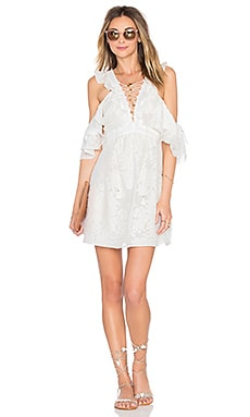 Valerie Lace Up Dress in Ecru
