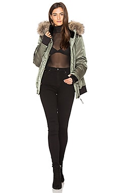 Riley Bomber with Rabbit and Raccoon Fur in Sage & Natural