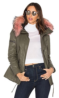 Mini Hudson Parka with Asiatic Raccoon Fur in Army & Light Pink