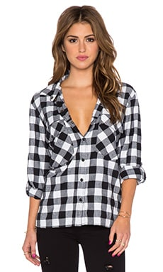 Boyfriend Button Down in Black & Moonrise