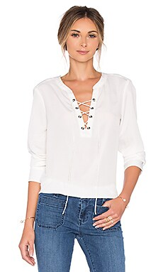 Lace Up Cafe Top in Milk