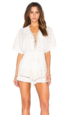 Carin Romper in Gold & Creme