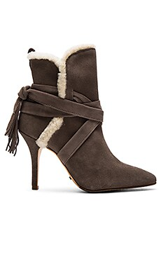 Finn Sheep Fur Bootie in Neutral Gray Cream