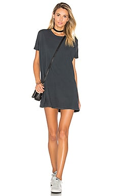 Distressed Tunic Tee Dress in Sun Faded Black