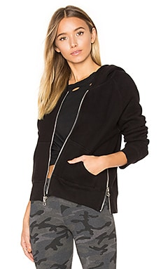 Side Zip Hoodie in Black