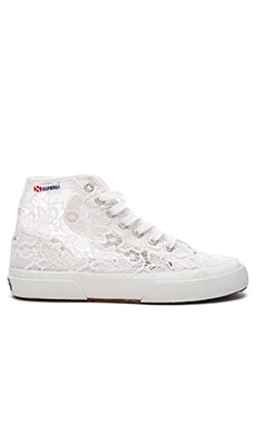 2750 Cot Macrame High Top Sneaker in White