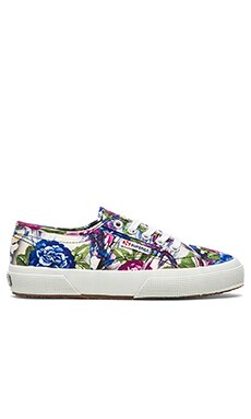 Lace Up Sneaker in Violet Flower Paint