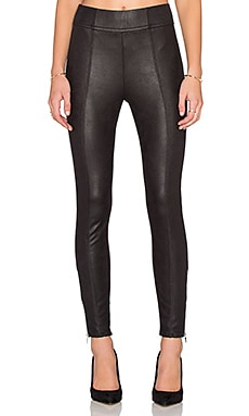 Seamed Zip Legging in Black