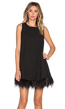 Sleeveless Feather Down Godet Panel Feather Dress in Black