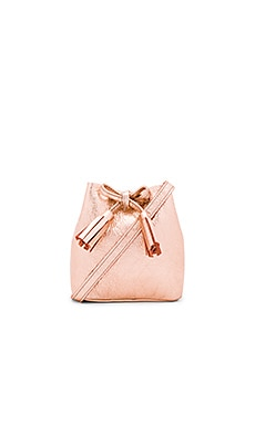 The Greta Bucket Bag in Metallic Rose Gold