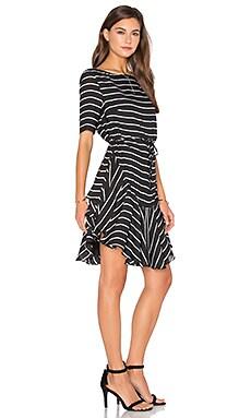 Isabelle Ruffle Shift Dress in Black & White Stripe