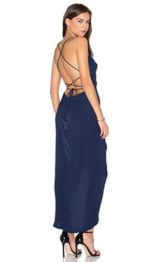 Leticia Lace Up Cowl Maxi Dress in Navy