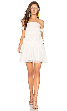 Moliere Off The Shoulder Mini Dress in White & Nude