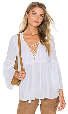 Poet Tie Top in White Chiffon