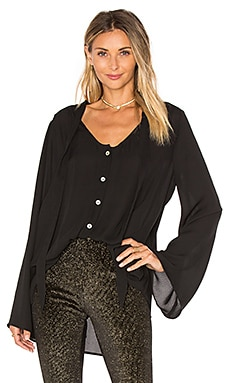 Taylor Tie Front Tunic in Black Crisp