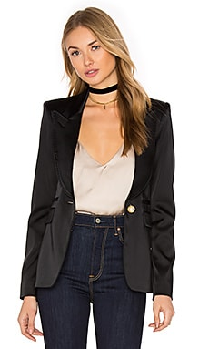 Peaked Lapel Blazer in Black Satin