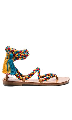 Gladiator Lace Up Sandal in Red, Teal & Gold