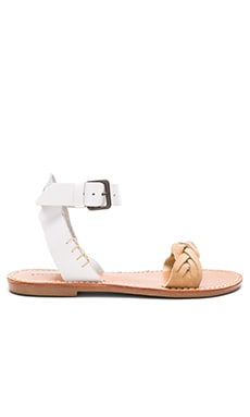Braided Ankle Strap Sandal in White