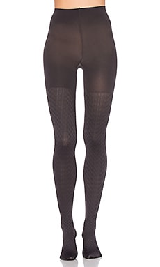 Cable Knit Tights in Charcoal