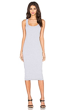 2x1 Rib Cross Back Knit Dress in Heather Grey