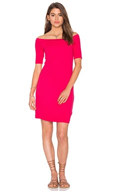 2x1 Rib Bodycon Dress in Bright Flamingo