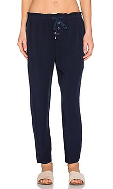 Lace Up Pant in Navy