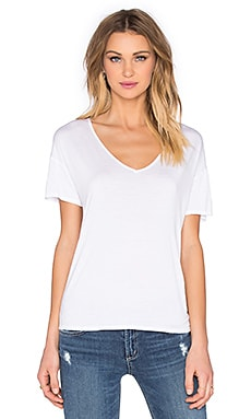 Rayon Jersey Keyhole Back Top in White