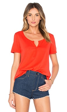 Baby Jersey Deep V Tee in Fiery Red