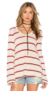Tucson Striped Loose Knit Top in Brick Red