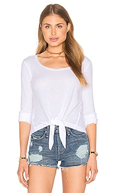 Heathered Thermal Front Tie Top in White