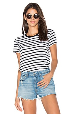 Cerine Slub Stripe Crew Neck Tee in White & Black