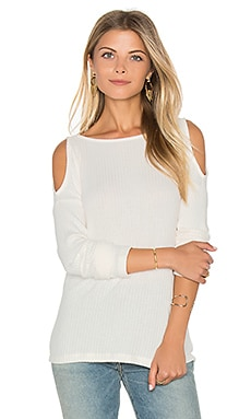 Sylvie Rib Open Shoulder Top in Cream