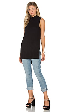 Sylvie Rib Turtleneck Tunic Tank in Black