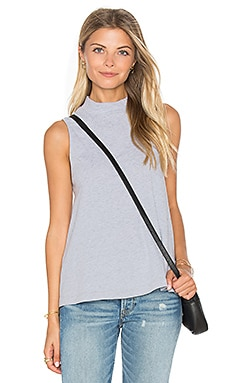 Delcia Rugby Stripe Turtleneck Tank in Heather Grey