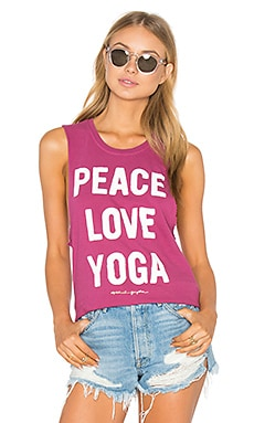 Peace Love & Yoga Tank in Sunset Rose