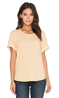 Linen Sweater Short Sleeve Crew Neck Tee in Sun