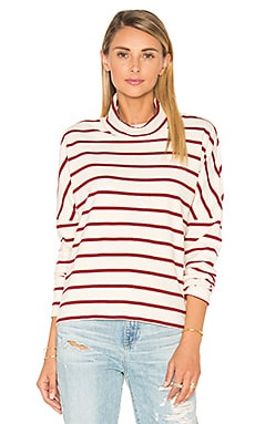 Wine Stripe Turtleneck in Cream