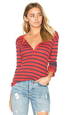 Stripe Thermal Long Sleeve Tee in Navy & Crimson