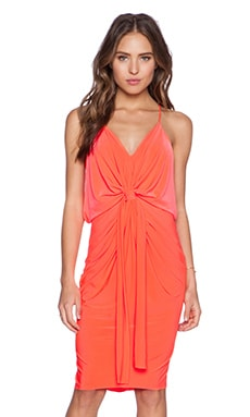 Tie Front Dress in Neon Coral