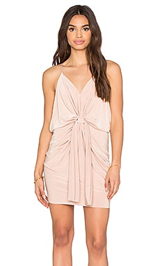 Domino Tie Front Micro Mini Dress in Rose Smoke
