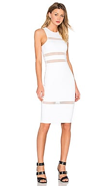 Mesh Stripe Fitted Dress in White
