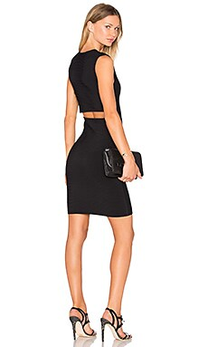 Rib Knit V-Neck Dress in Black