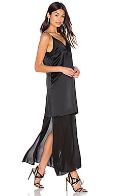 Silk Chiffon Slip Dress in Black